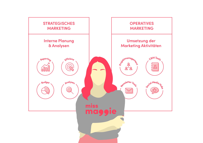 grafik zur marketing management software die erklärt wo sie im strategischen und operativen marketing unterstützt